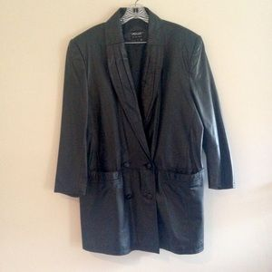 Vintage '80s Pelle Black Leather Blazer Jacket